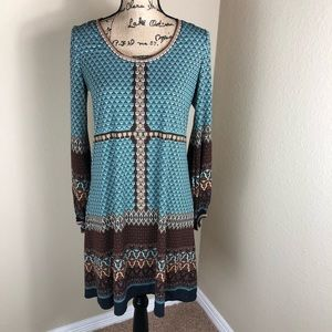 Max Studio Turquoise Brown Stretch Jersey Dress M